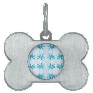 Blue Flower Power Pattern Pet Tag