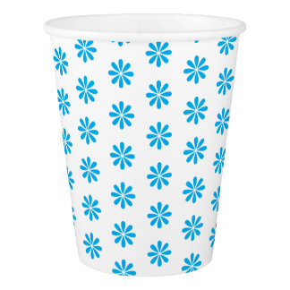 BLUE FLOWER PRINT. CUSTOMIZABLE BACKGROUND PAPER CUP