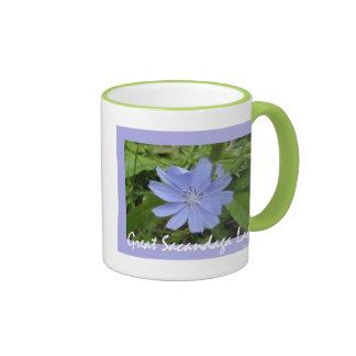 Blue Flower Ringer Mug