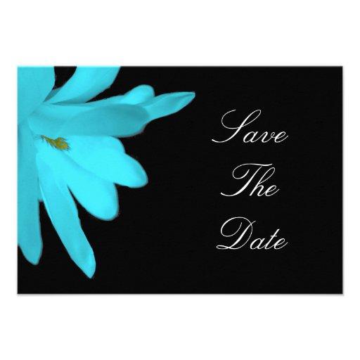 Blue flower save the date custom invitations