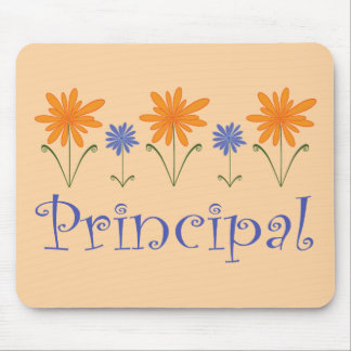 Blue Flower School Principal Gift Mouse Mat