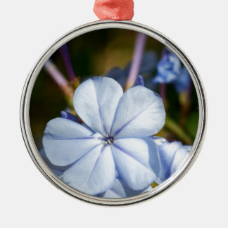 Blue Flower Silver-Colored Round Decoration