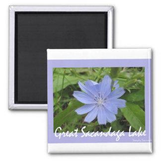 Blue Flower Square Magnet