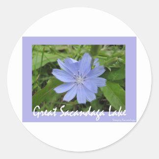 Blue Flower Round Stickers
