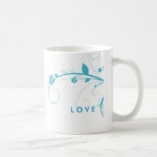 Blue Flower Swirls coffee mug