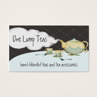 Blue flower teapot and teacups business cards