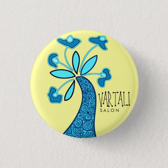 Blue Flower Vartali Round Button