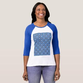 Blue flower Vintage T-shirt Design Paper Pattern