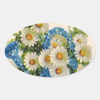 Blue Flower Watering Can Oval Sticker