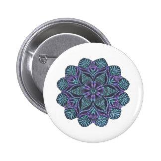 Blue flower woven pattern 6 cm round badge