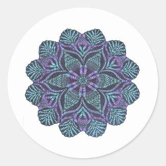 Blue flower woven pattern round sticker