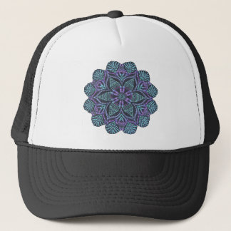 Blue flower woven pattern trucker hat