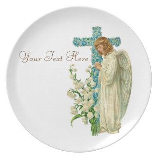 Blue Flowered Christian Cross Dinner Plate