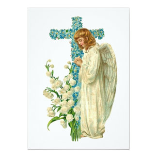 Blue Flowered Christian Cross 13 Cm X 18 Cm Invitation Card