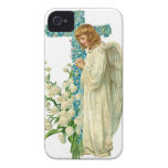 Blue Flowered Christian Cross iPhone 4 Covers