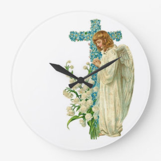 Blue Flowered Christian Cross Large Clock