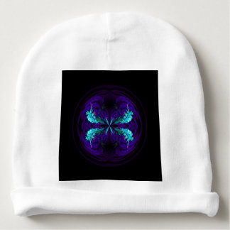 Blue flowered globe abstract baby beanie