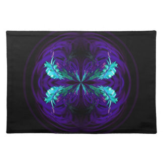Blue flowered globe abstract placemat