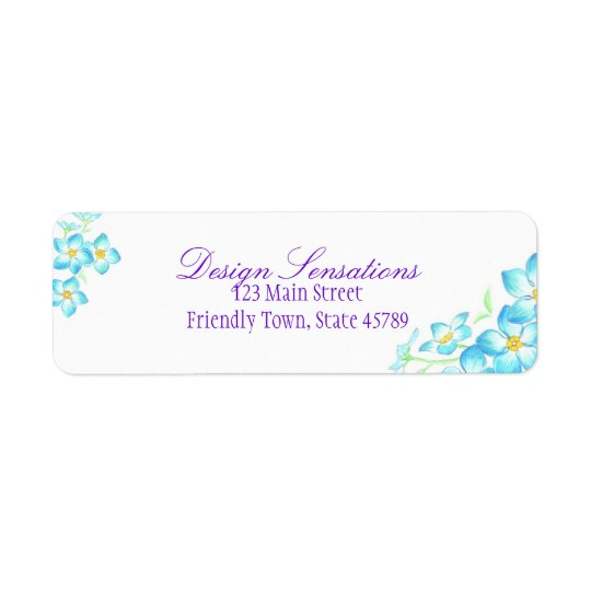 Blue Flowers address label