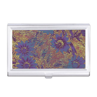 Blue flowers against leaf camouflage pattern business card holder