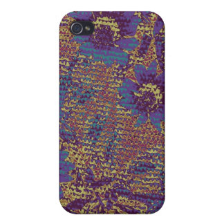 Blue flowers against leaf camouflage pattern cases for iPhone 4