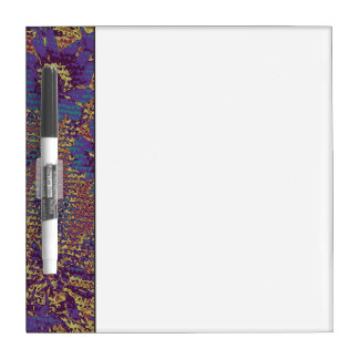 Blue flowers against leaf camouflage pattern dry erase board