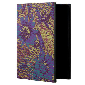 Blue flowers against leaf camouflage pattern iPad air case