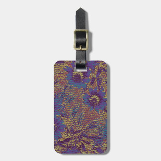 Blue flowers against leaf camouflage pattern luggage tag