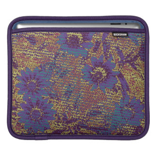 Blue flowers against leaf camouflage pattern sleeve for iPads