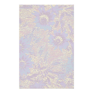 Blue flowers against leaf camouflage pattern stationery