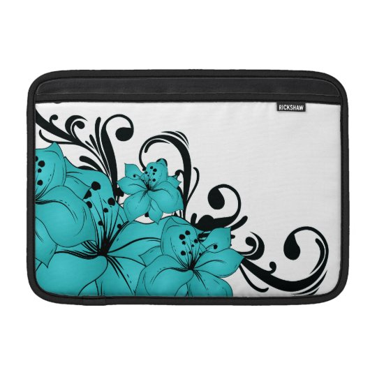 Blue Flowers and Black Scrolls on White MacBook Sleeve
