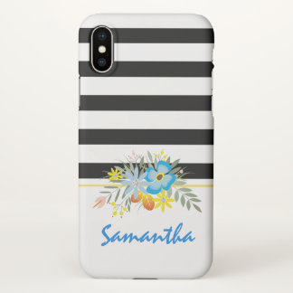 Blue flowers and black, white stripes floral iPhone x case