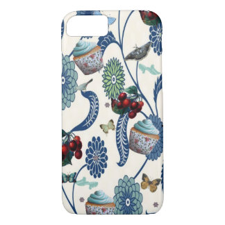 Blue Flowers and Cupcakes iPhone 7 Case