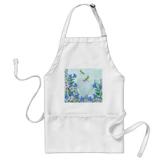 Blue flowers and dragonflies standard apron
