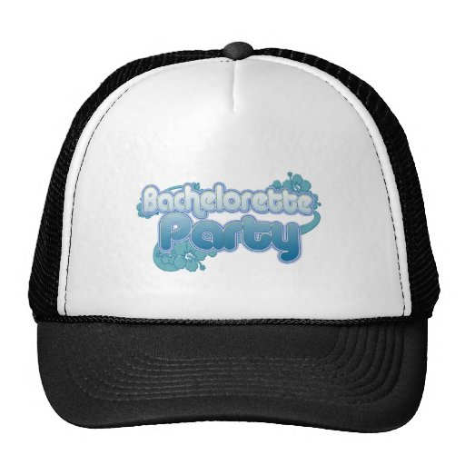 blue flowers bachelorette party ocean bridesmaids trucker hats