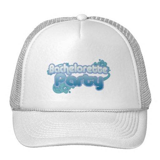 blue flowers bachelorette party ocean bridesmaids mesh hat