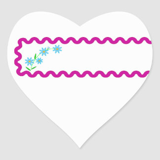 Blue Flowers  Background Heart Sticker