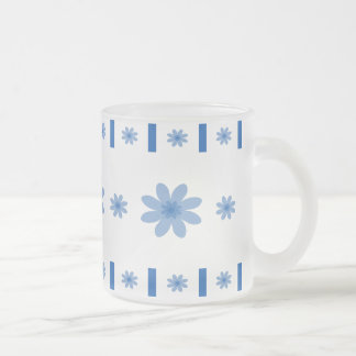 Blue Flowers & Blocks Frosted Glass Coffee Mug