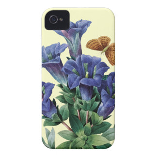 Blue flowers butterfly vintage illustration iPhone 4 cover