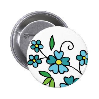Blue flowers button floral design