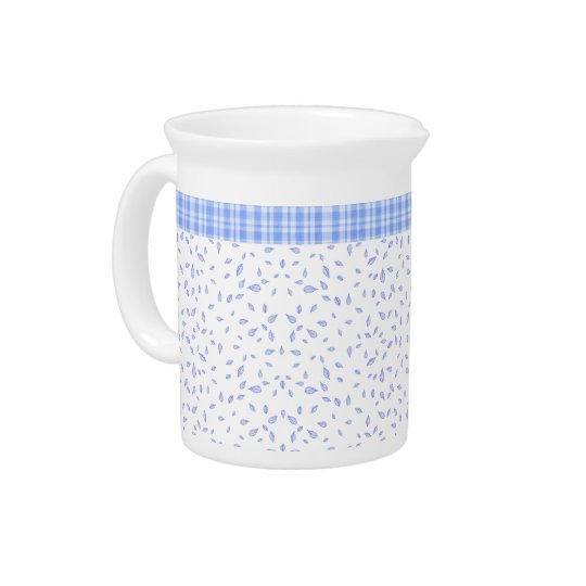 Blue flowers & chequered - Circular Drink Pitcher