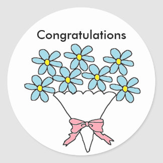 Blue flowers Congratulations Classic Round Sticker