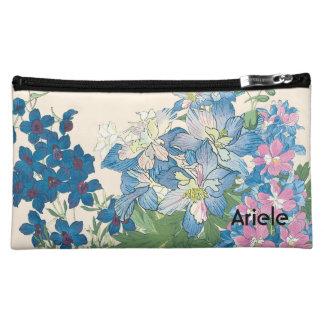 Blue Flowers Design Customizable Cosmetic Bag