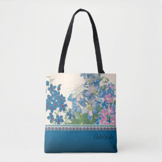 Blue Flowers Design Tote Bag