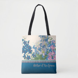 Blue Flowers Favourite Bridesmaid Gift Tote Bag