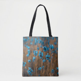 Blue Flowers Field Tote Bag