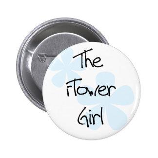 Blue Flowers Flower Girl Pinback Buttons