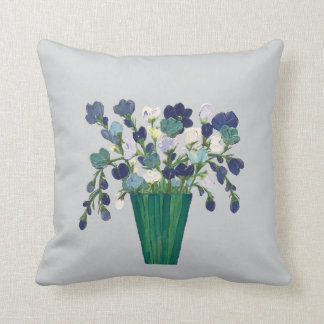 Blue Flowers in Teal Vase Cushion