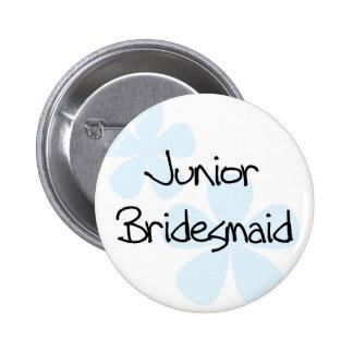 Blue Flowers Jr. Bridesmaid 6 Cm Round Badge
