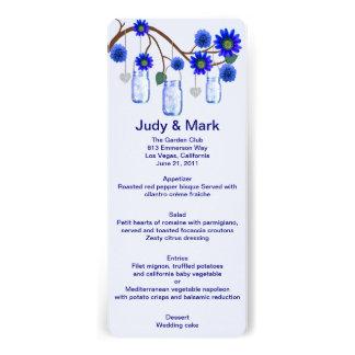 Blue Flowers Mason Jars Menu Card